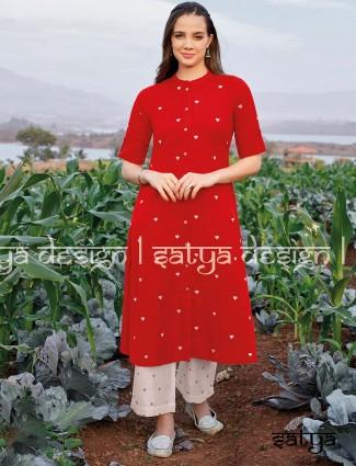 红色棉质休闲中国式颈巾