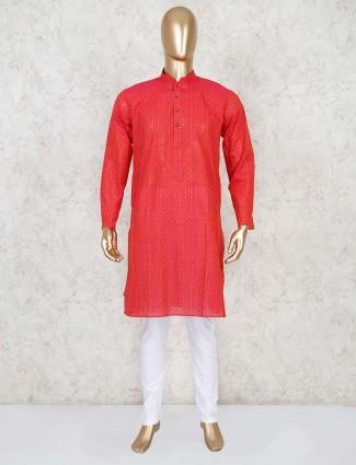 Red cotton festive wear kurta suit
