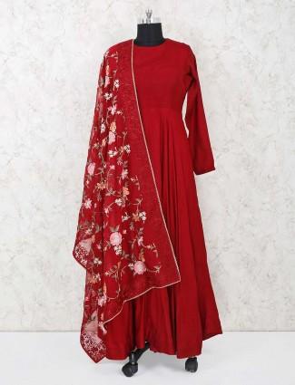 Red cotton silk designer anarkali suit