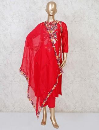 Red cotton silk designer punjabi pant suit set