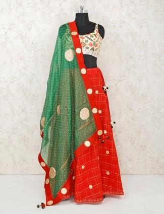 Red cotton silk party wear lehenga choli