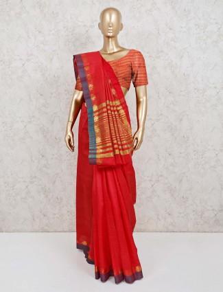 Red cotton silk solid saree