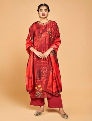 Red designer punjabi palazzo suit in cotton silk
