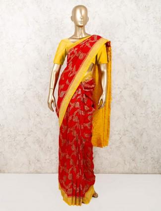 Red designer wedding wear muga silk saree