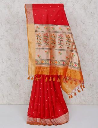 Red festive semi silk saree