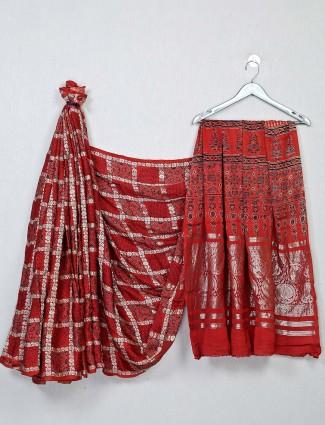 Red festive wear bandhej saree