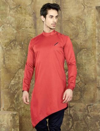 Red festive wear short kurta