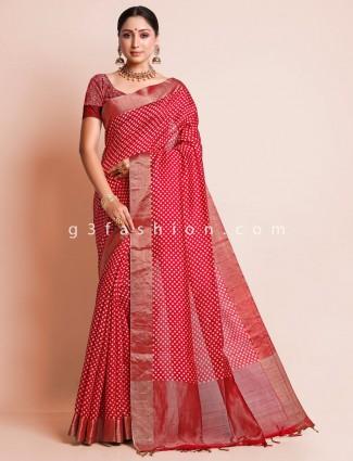 Red festive wear south silk saree