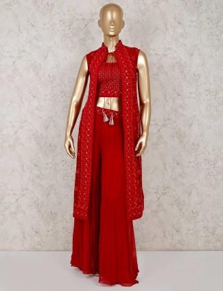 Red georgette indo western designer sharara suit