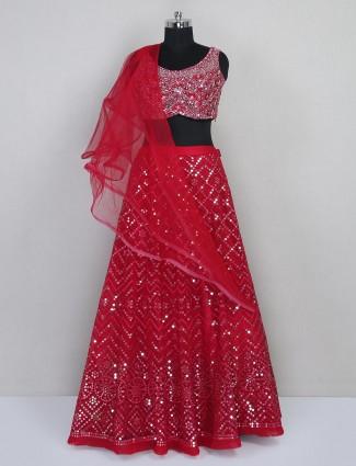 Red georgette lehenga choli for reception