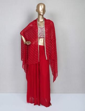 Red georgette wedding wear sharara salwar kameez
