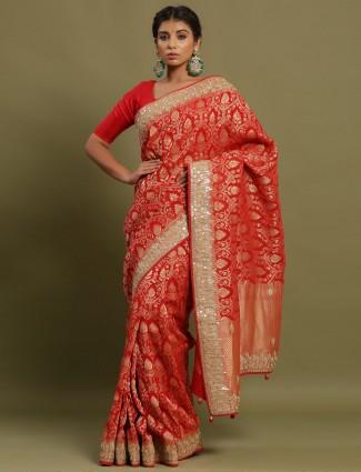 Red Heavy Banarasi Silk Saree