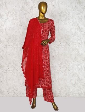 Red hue cotton fabric punjabi salwar suit