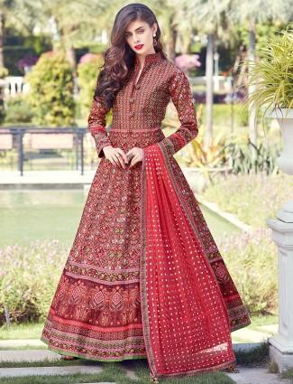 Red hue patola silk floor length anarkali suit
