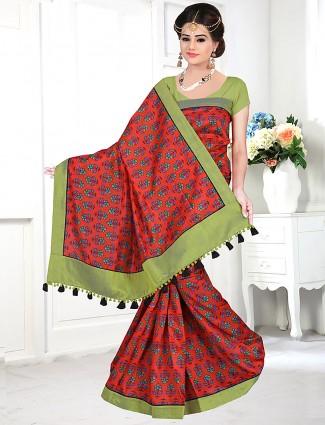 Red hue printed cotton festive saree