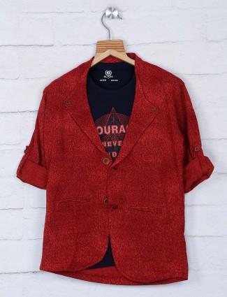 红色色调纯色毛圈人造丝面料西装外套
