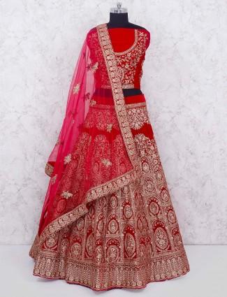 Red hue velvet bridal semi stitched lehenga choli