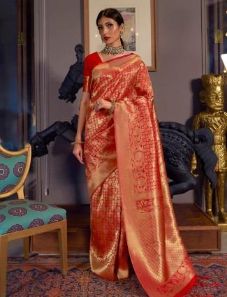Red kanjivaram silk saree for wedding