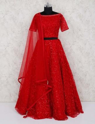 Red lehenga choli in net