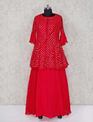 Red lehenga salwar kameez in georgette