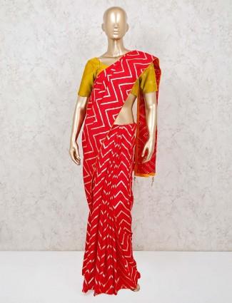 Red leheriya design cotton saree