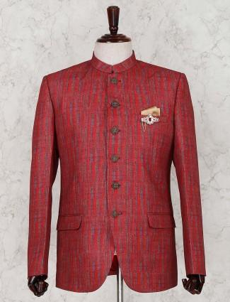 Red linen solid jodhpuri with bottom fabric