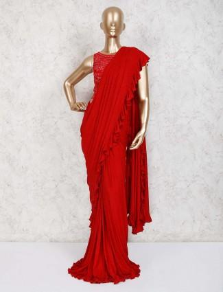 Red lycra designer wedding ready to wear saree