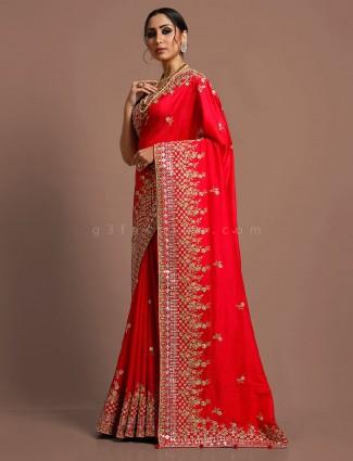 Red munga silk reception function saree