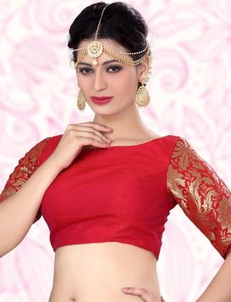 Red nice designer raw silk ready made blouse