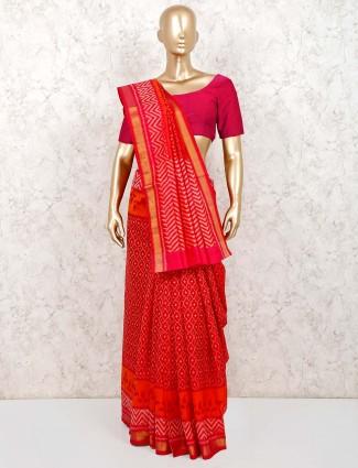 Red patola silk wedding function saree