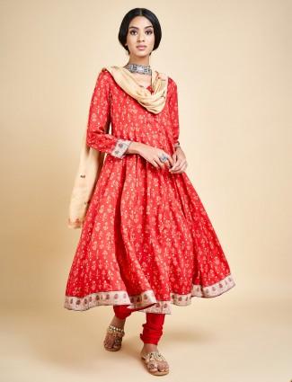 Red printed churidar salwar suit in cotton