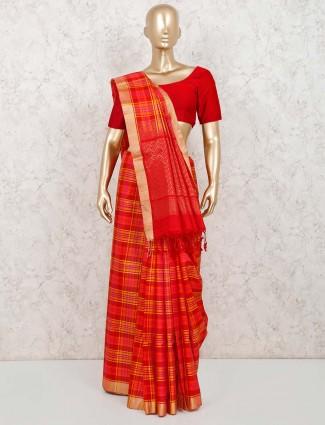 Red pure silk saree with zari weaving and matching pallu