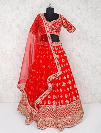 Red raw silk bridal wear premium lehenga choli