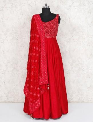 Red raw silk wedding wear anarkali suit