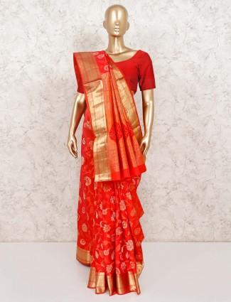 Red reception banarasi pure silk saree