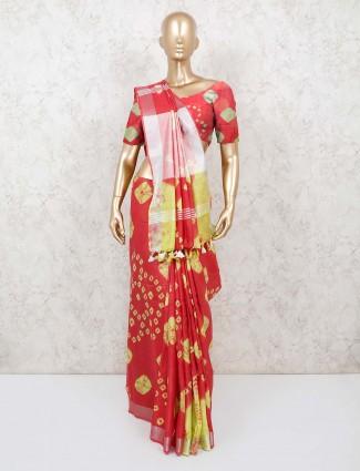 Red jaipuri shibori print cotton saree