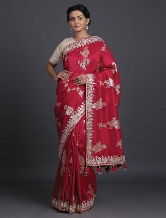 Red saree in silk with foil zari details