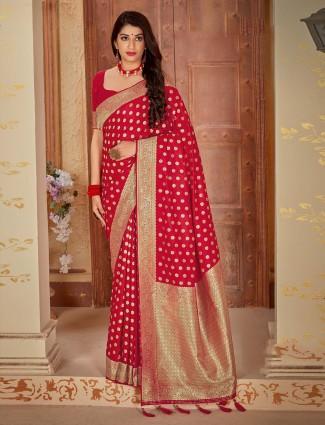 Red satin beautiful saree