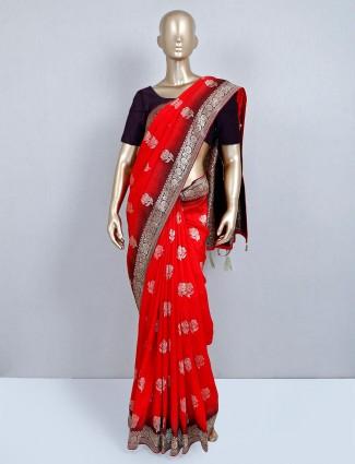 Red semi silk wedding special saree