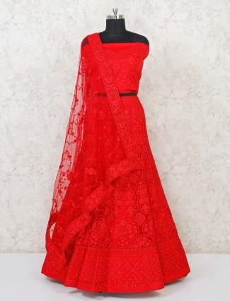 Red semi stitched wedding net lehenga choli