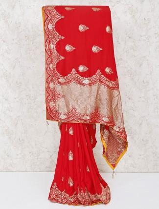 Red silk beautiful wedding saree