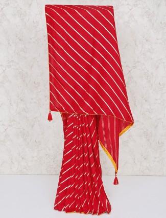 Red silk leheriya saree