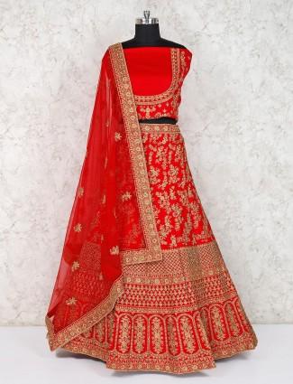 Red silk semi stitched bridal lehenga choli