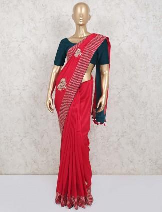 Red silk wedding saree for pretty womnes