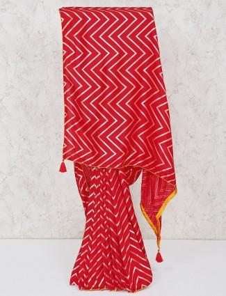Red silk zari weaving in zig zag pattern saree