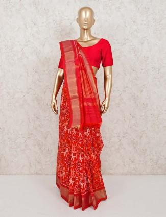 Red thread and zari weaving patola silk saree