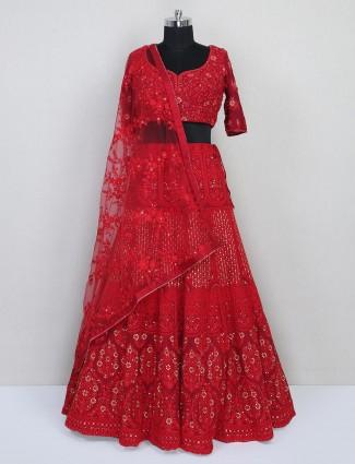 Red thread work wedding lehenga choli in georgette