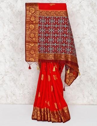 Red wedding semi silk wedding saree
