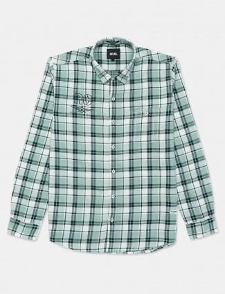 Relay green checks patern cotton mens shirt