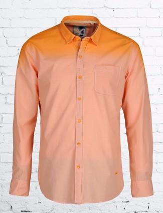 Relay plain cotton slim fit peach shirt